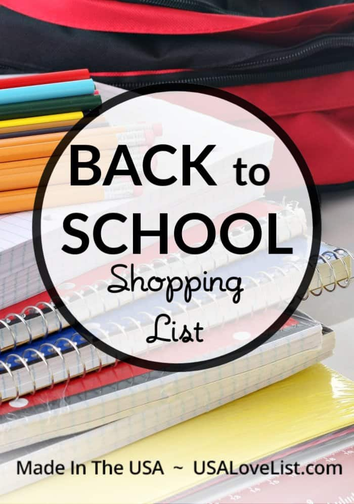 Made in USA Back to School Shopping List The ultimate source for everything you need Made in USA for back to school #usalovelisted #backtoschool