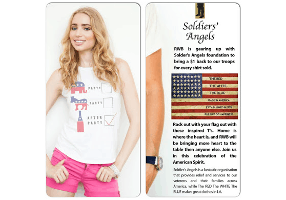 For every one of these fun election themed tees sold, LA americana brand The RED The WHITE The BLUE will donate $1 to the Soldiers' Angels Foundation.