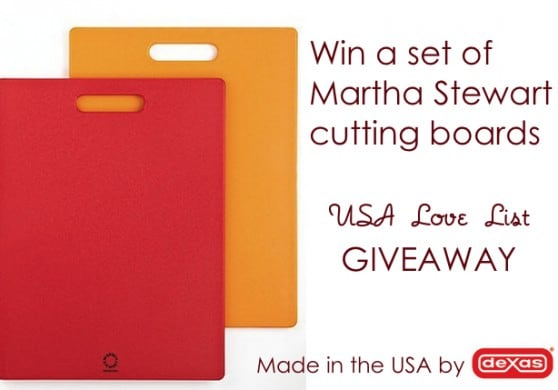 Dexas makes sturdy, virbant cutting boards in Texas for Martha Stewart, Macy's, Crate and Barrel, and more. Enter to win our giveaway through 11/1/12.