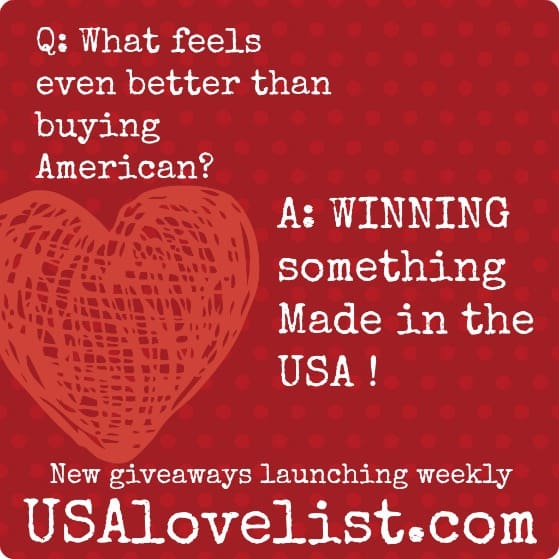 Giveaways with lots of easy entry options. So fun to find Made in USA treasures!