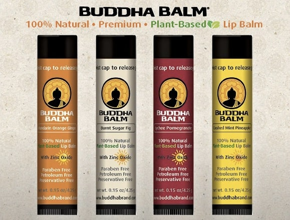 Giveaway: Buddha Brand Lip Balm – Enter to Win a Year's Supply for soft lips and zinc oxide sun protection