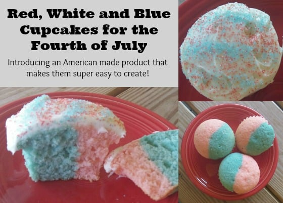 Red, White and Blue Fourth of July Cupcakes (and the secret to making them!)