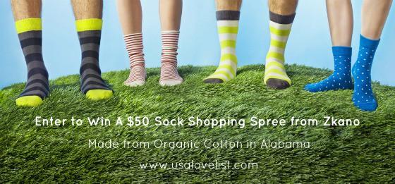 Zkano: Enter to Win a $50 Made In USA Socks Shopping Spree