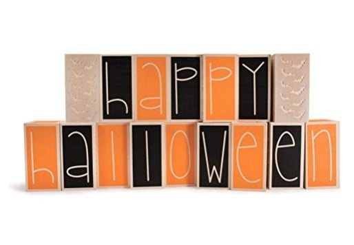 American Made Halloween Decor and Party Must Haves: Uncle Goose Happy Halloween letter blocks #Halloween #usaLoveListed