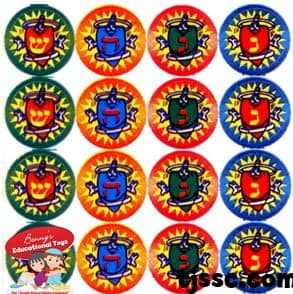 Chanukah dreidles stickers, made in USA