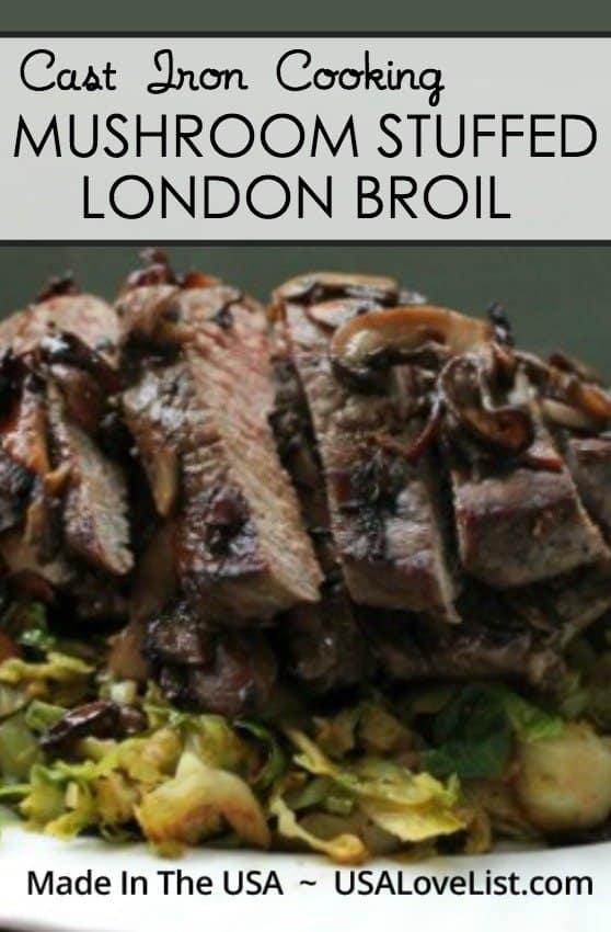 Mushroom stuffed London Broil recipe | Cooking with cast iron