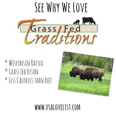 American Raised Grass Fed Bison via USALoveList.com