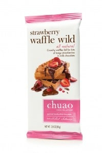 Strawberry Waffle Wild Chocolate Bar From Chuao | Crunchy waffles fall for bits of tangy strawberry in milk chocolate | #AmericanMade #Chocolate #MadeinCali #ValentinesDayGiftIdeas