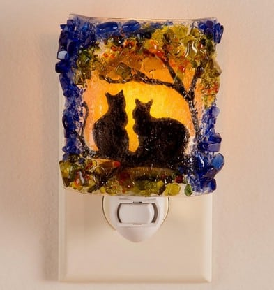 Autumn Cats recycled glass night light | Made in USA | Fall decorating ideas