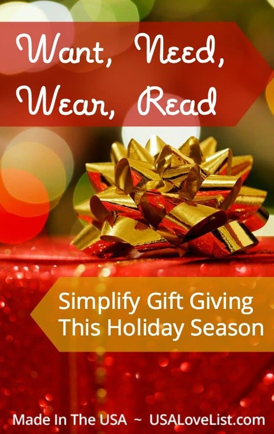 Want, need, wear, read | Simplify gift giving | Gift ideas