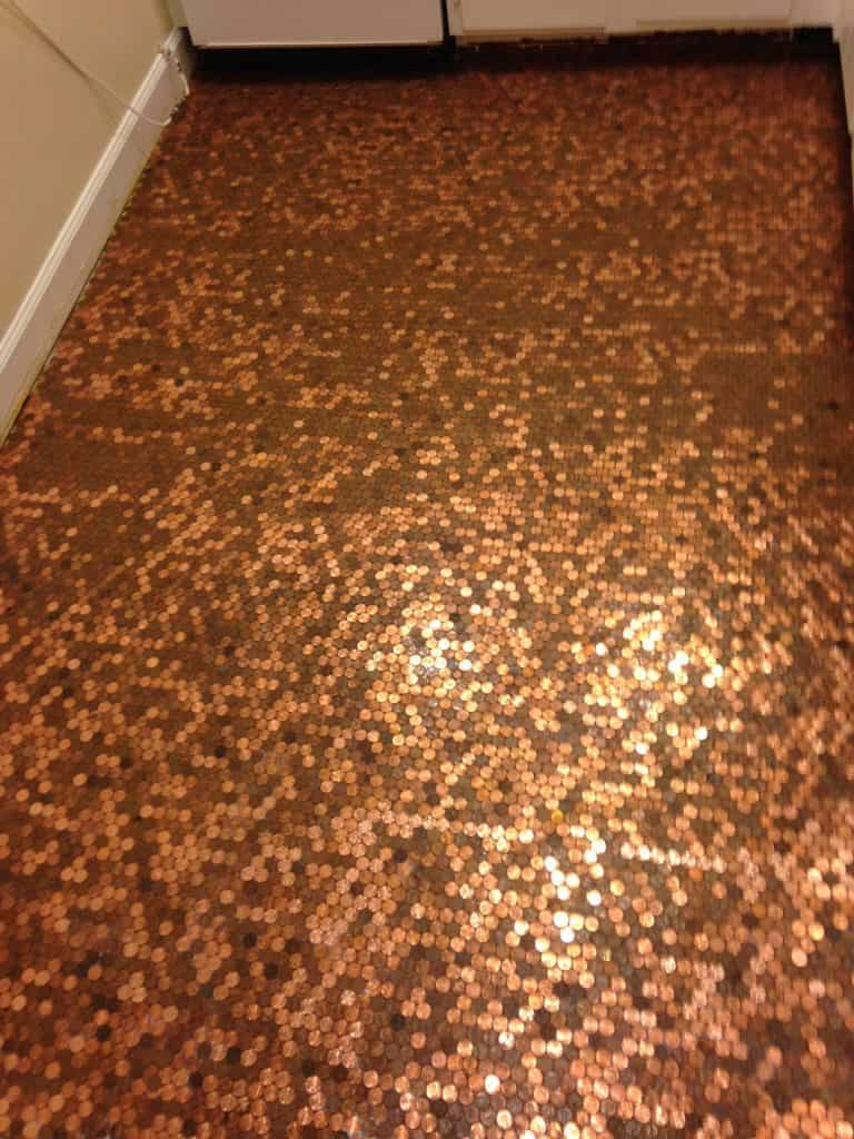 How to install a copper penny floor a made in usa diy project diy penny floor dailygadgetfo Image collections