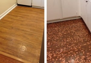 Before and after: installation of a copper penny floor