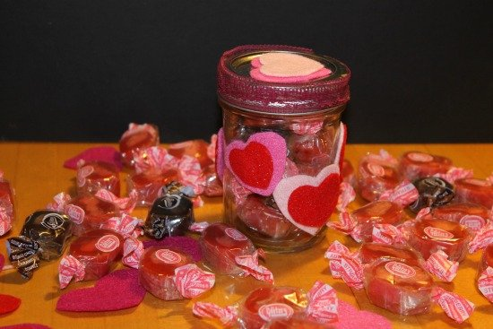 Valentine Candy Jar stuffed with American made Goetze's Candy Caramel Creams