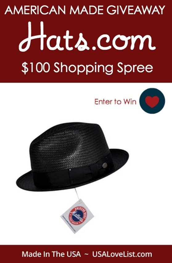 Enter to win $100 to spend on American Made hats at Hats.com via USAlovelist.com
