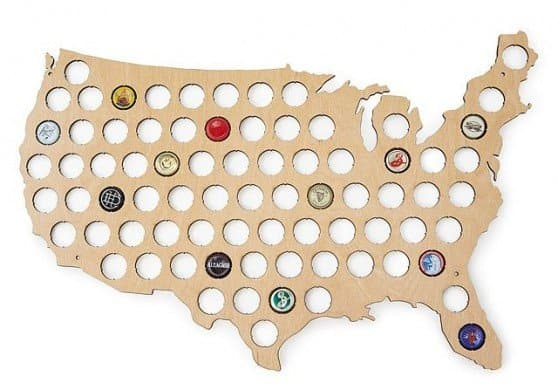 Beer Cap Map American Made Gifts For The Beer Lover via USALoveList.com