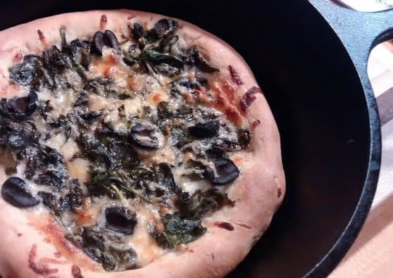 Made in USA Cast Iron Cooking: Spinach Pizza Recipe