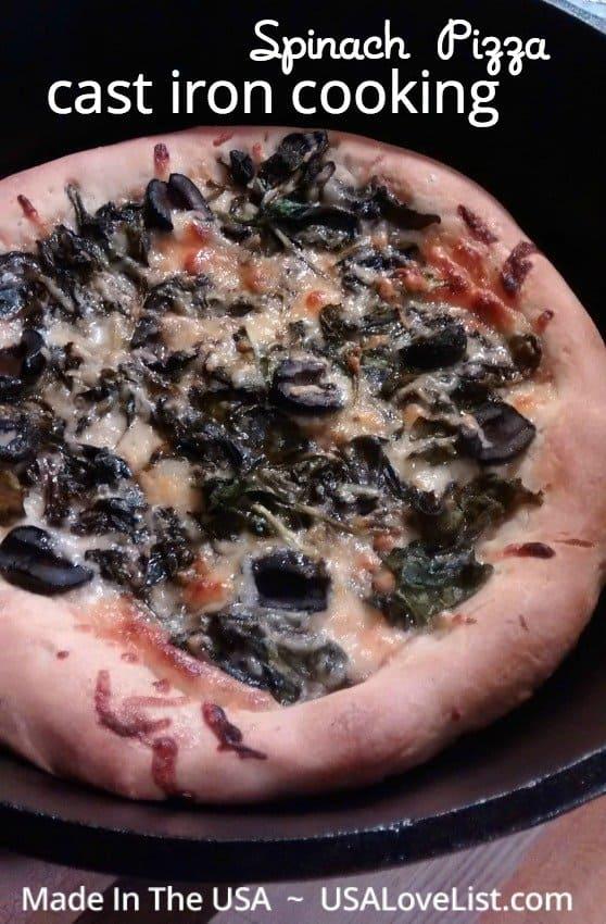 Spinach Pizza Recipe #LodgeCastIron #MadeinUSA #NationalSpinachDay