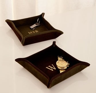 Suede personalized valet tray   personalized gifts for men   Made in USA