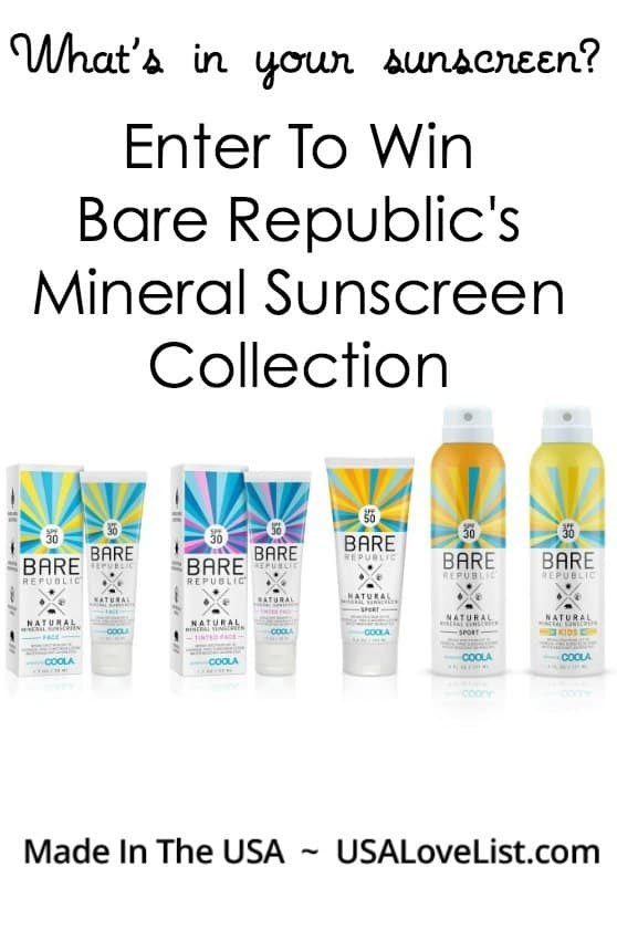 Giveaway Mineral Sunscreen From Bare Republic via USALoveList.com