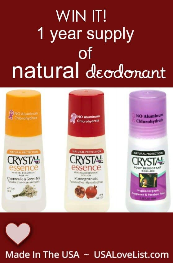 natural deodorant - enter to win a years supply.