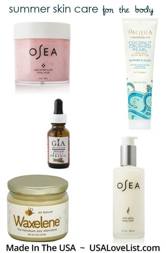 Summer skin care products for the body.