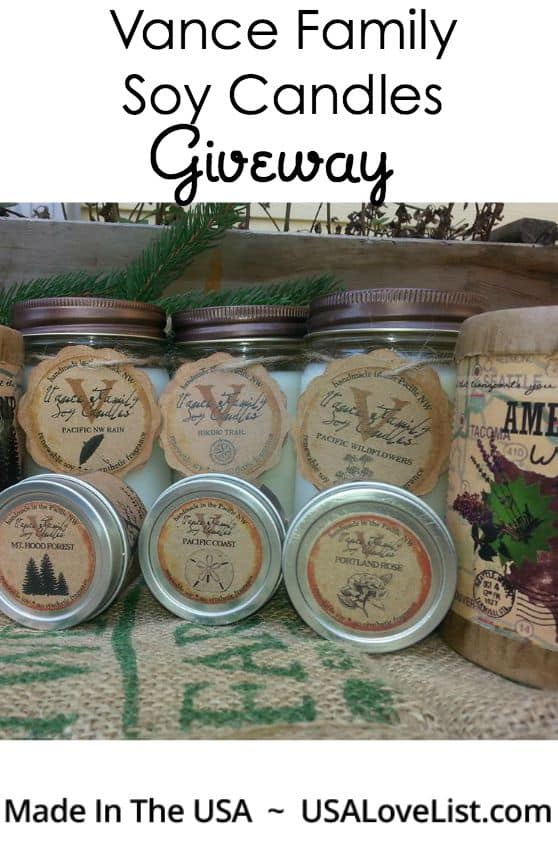 Win Over $250 Worth of American Made Soy Candles from Vance Family Soy Candles