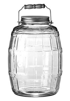 This is a nice big container for making cold brewed coffee concentrate plus they are made in the USA too by Anchor Hocking. Click for a cold brew coffee recipe.