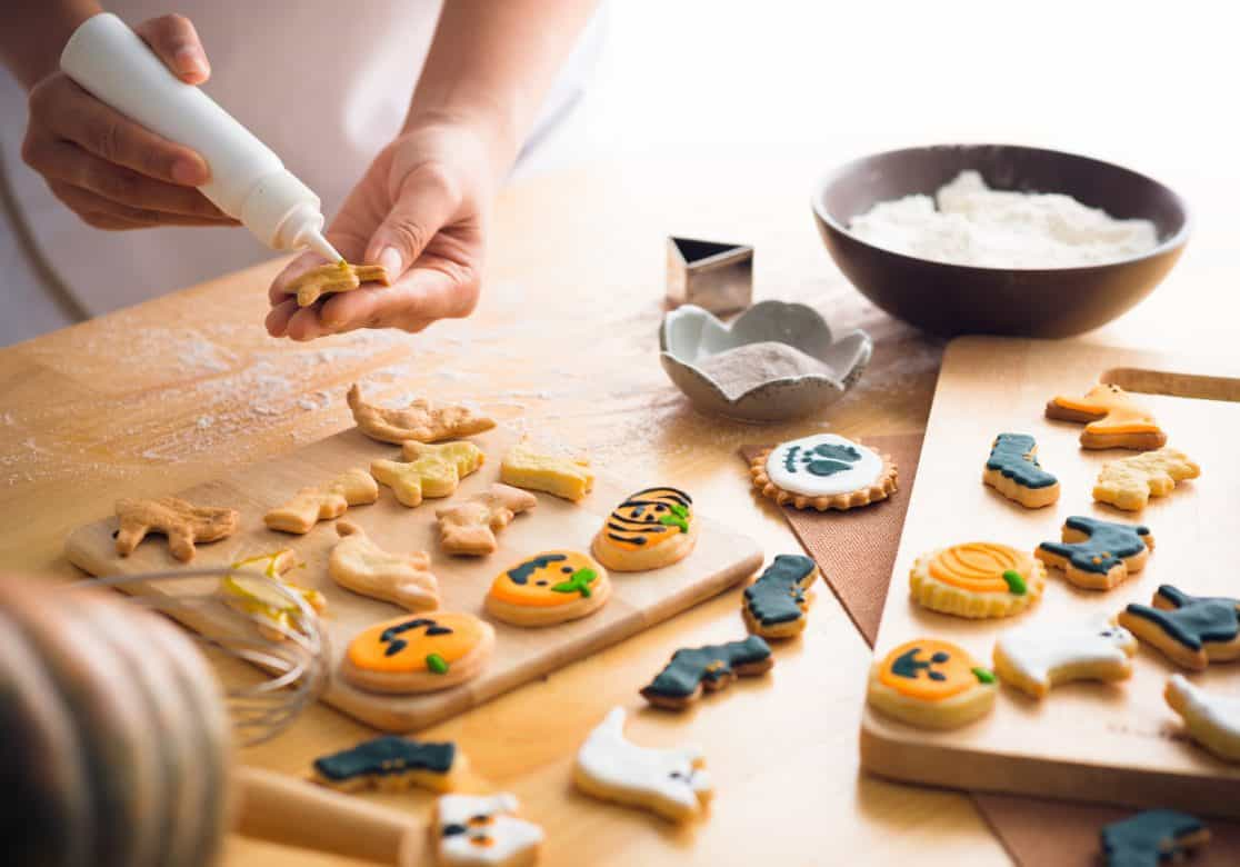 Decorating Halloween cookies with frosting: American Made Baking Supplies