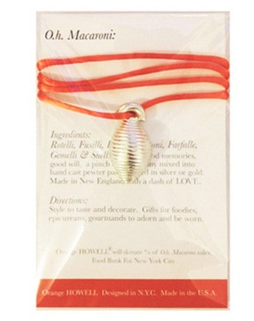 National Pasta Month |Orange HOWELL O.h. Macaroni jewelry, key chains, ornaments