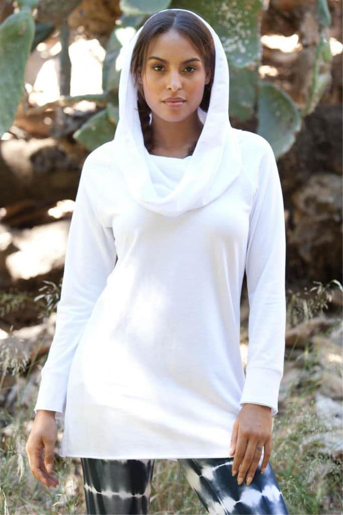 Fashion fitness wear; LVR Organic Pull-over Cowl Tunic - Made in Los Angeles
