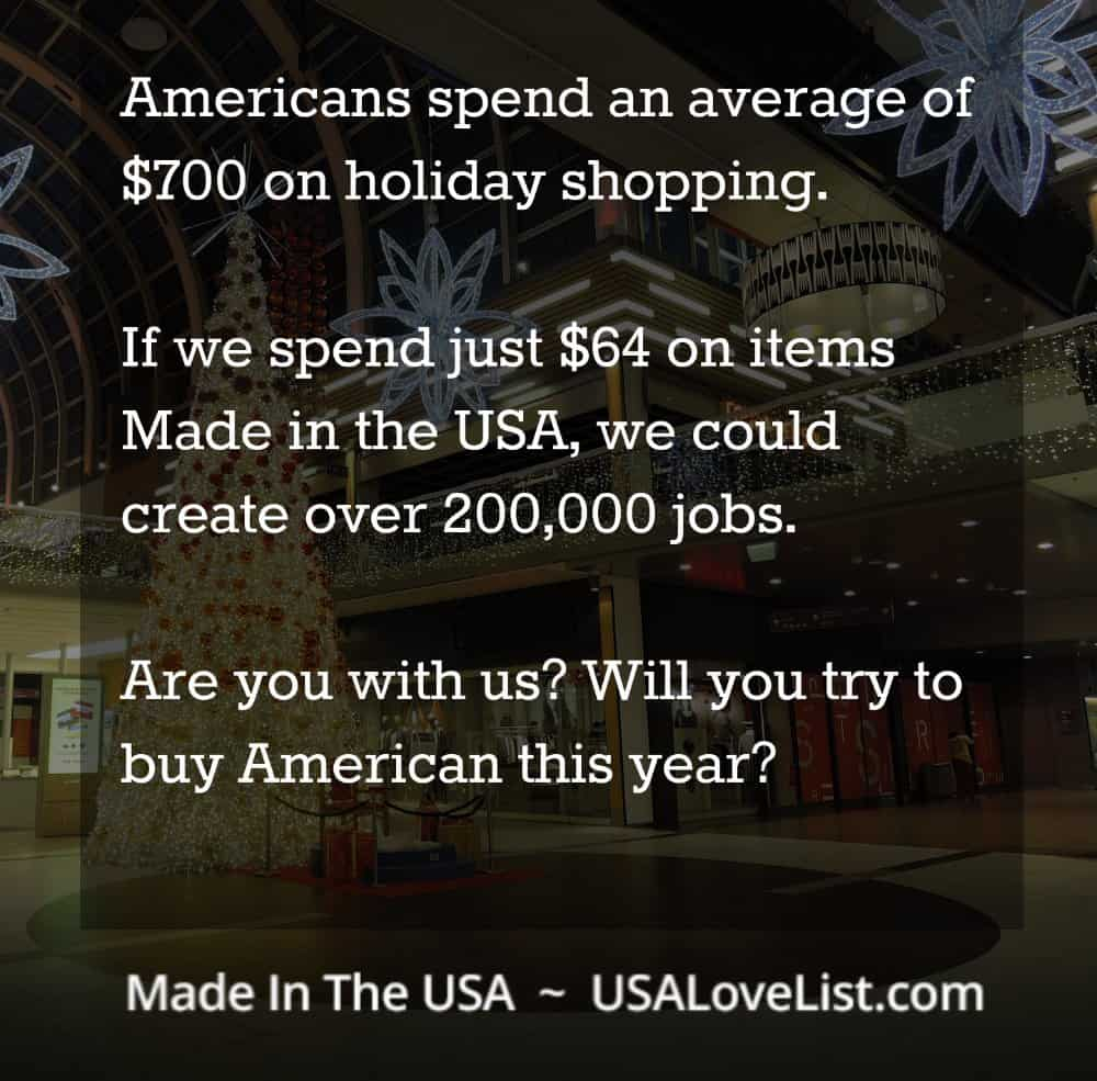 American spend an average of $700 on holiday shopping. If we spend just $64 on items made in the USA, we could create over 200,000 jobs. Are you with us? Will you try to buy American this year?
