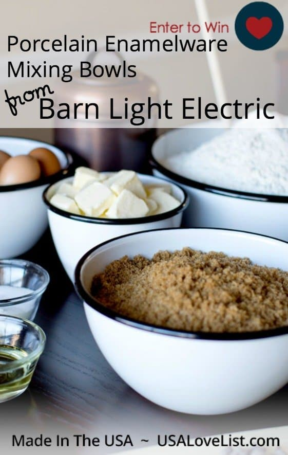 Porcelain Enamelware Mixing Bowls | Barn Light Electric| Giveaway ends 12/17/15