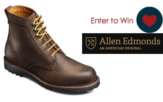 Giveaway: Enter to win these stylish, rugged men's boots. The are made in the USA by Allen Edmonds. Ends 1/28/16.