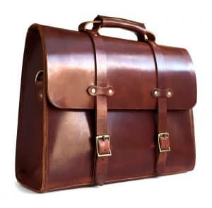 American Made Brown Leather Briefcase from Jackson Wayne | Luxury Gifts For Him