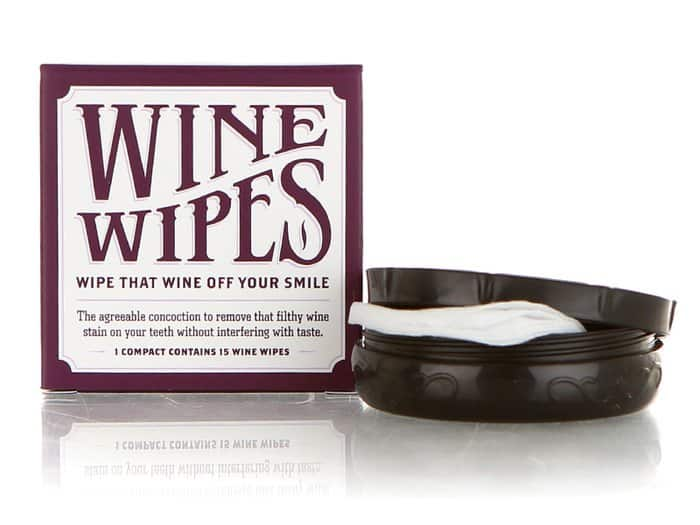 So clever! Wine Wipes discreetly clean those awful red wine stains from your teeth.
