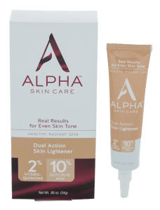 Alpha skin care Dual Action Skin Lightener with hydroquinone and glycolic acid.