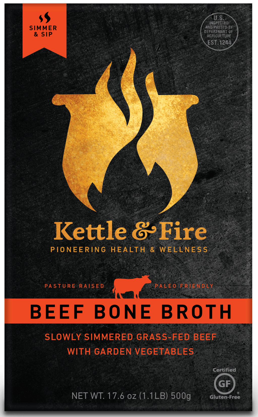 Kettle & Fire Organic Gluten-Free Paleo Grass-Fed Beef Broth | 15 percent off with code LOVE15 | Made with Organic Ingredients and Never Frozen