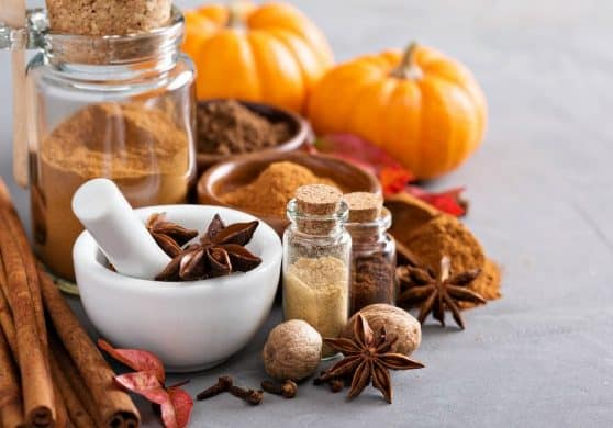 Homemade pumpkin pie spice in a glass jar