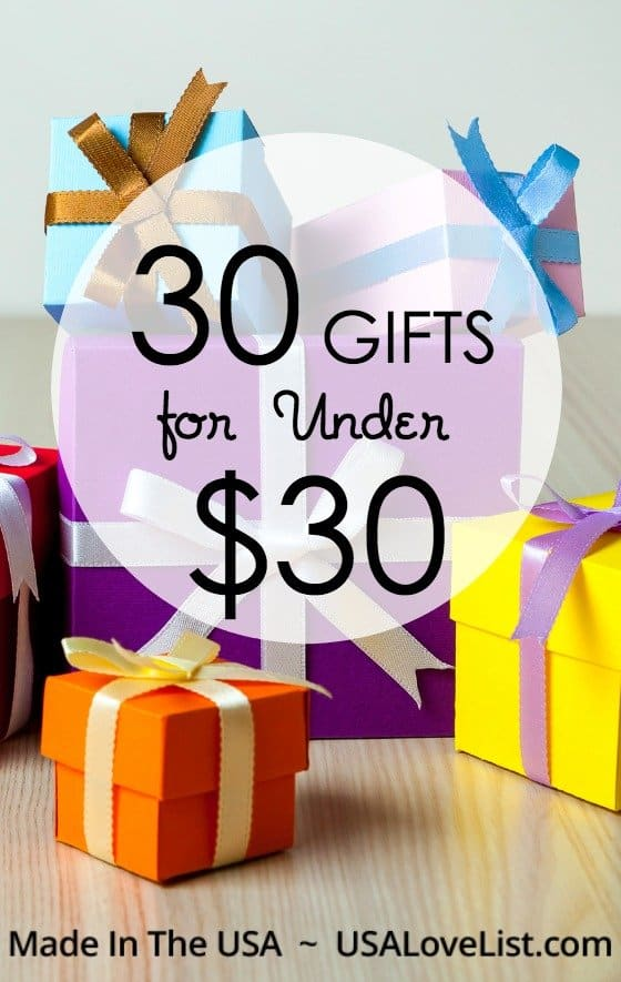 30 Gifts Under $30, all made in the USA via USAlovelist.com #usalovelisted