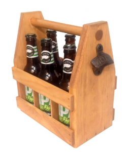 Gifts for beer lovers| Handcrafted wooden beer bottle carrier with bottle opener