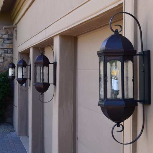 Lanternland lighting: Made in Arizona | Landon Sr. Wall Light Brass Lantern with Bracket and Scroll Intsallation