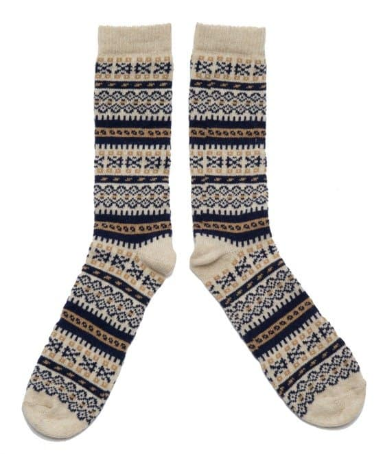 Lady Fair Isle socks by American Trench in cream