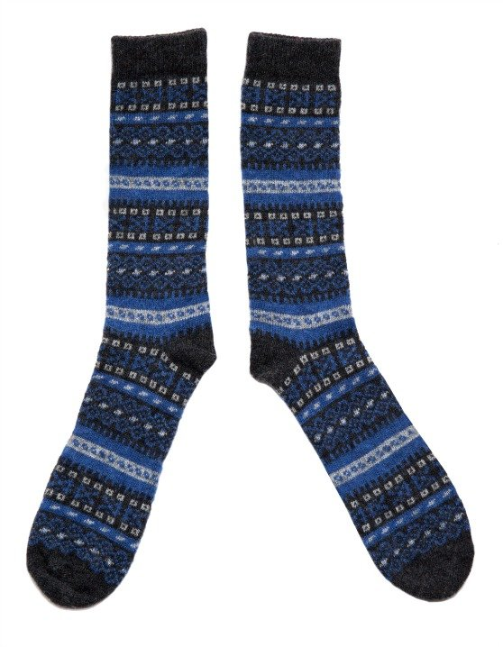 Lady Fair Isle socks in Navy by American Trench | Made in USA