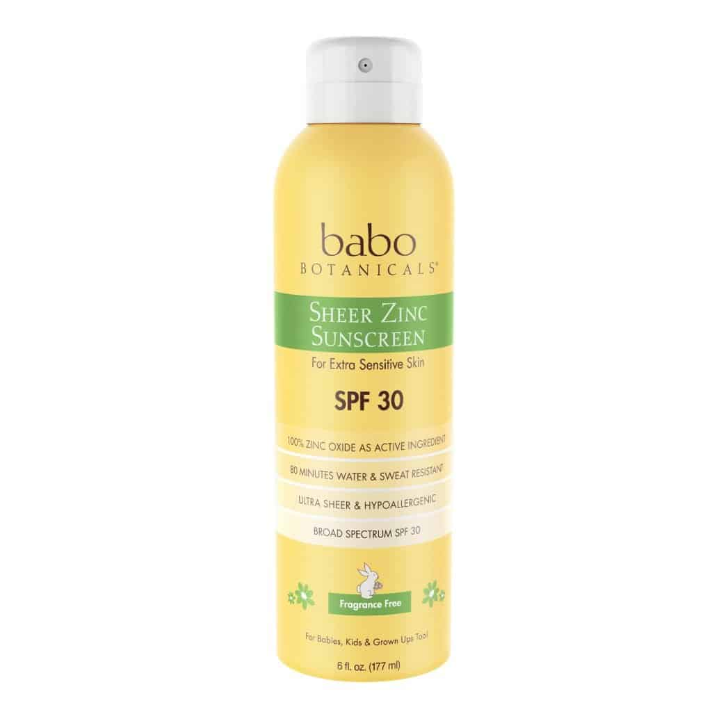 Non toxic sunscreens: babo botanicals Sheer Zinc Sunscreen Spray #usalovelisted #nontoxic