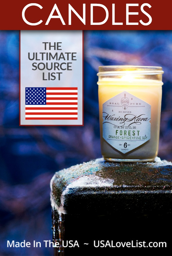 CANDLES Made in the USA, The Ultimate Source List Cake candles, tapered candles, Jar candles, tin candles, and more!