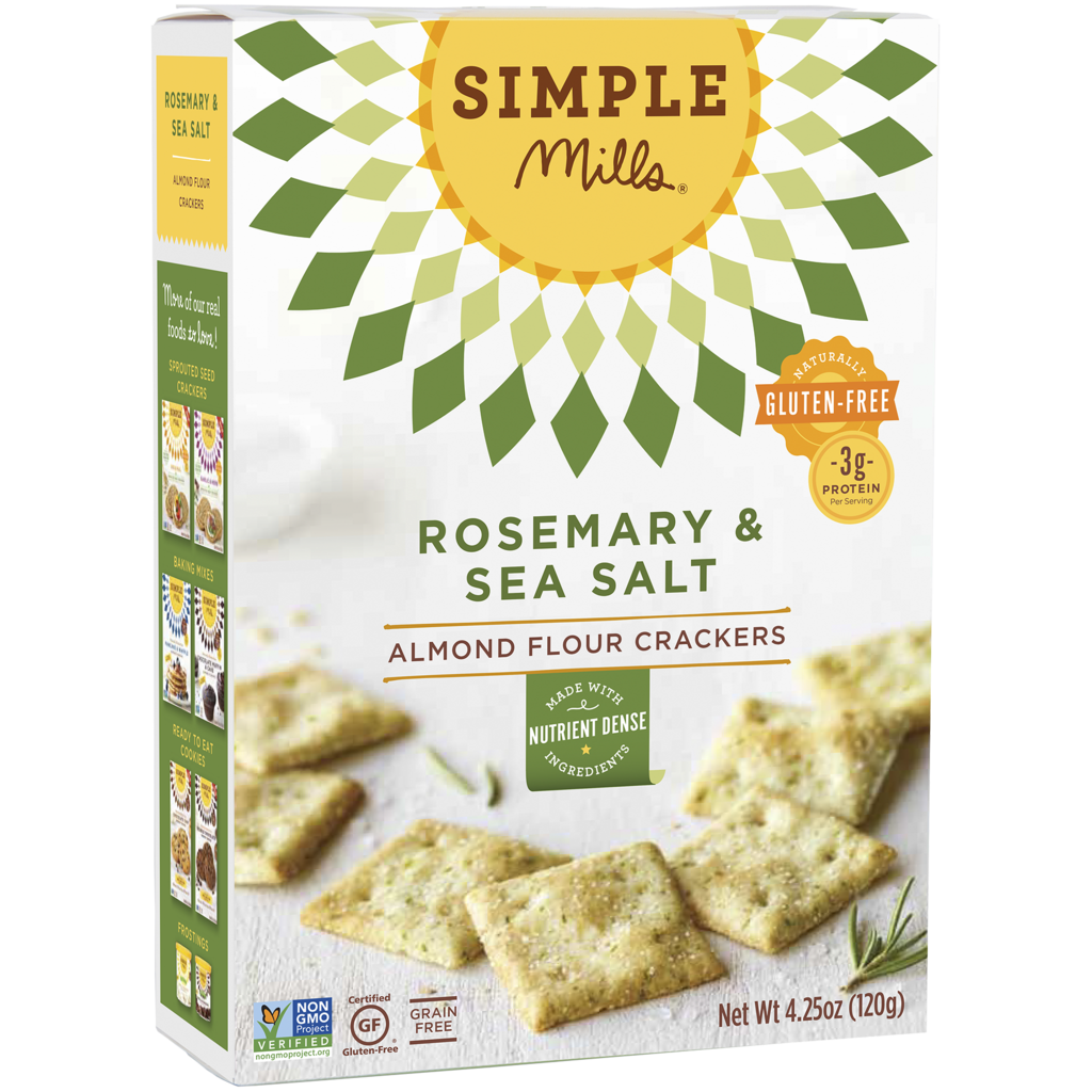 Simple Mills Paleo, Vegan, Grain-Free Rosemary & Sea Salt Almond Flour Crackers