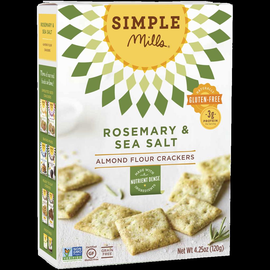Simple Mills Paleo, Vegan, Grain-Free Rosemary & Sea Salt Almond Flour Crackers