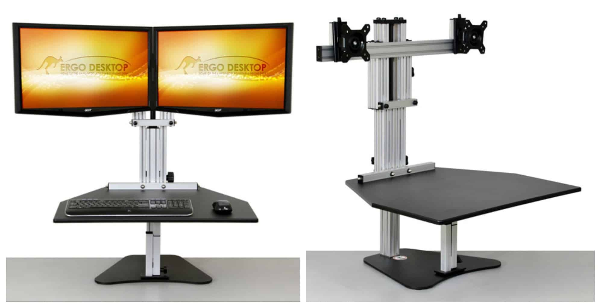 Kangaroo Elite dual monitor adjustable height computer