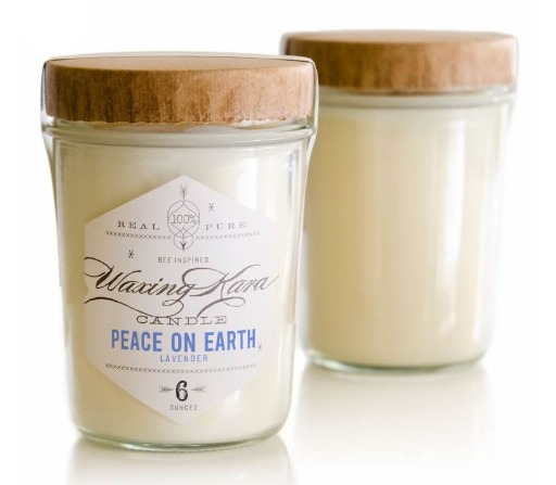 Waxing Kara soy candles with a touch of beeswax American made