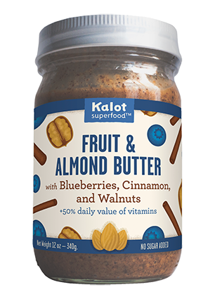 Kalot Superfood Whole30 Paleo Nut Butter - Blueberries, Cinnamon and Walnuts with Organic Coconut Oil